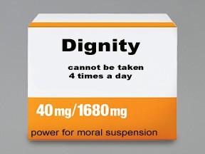 It is a medication box in orange and white. The word 'Dignity' is in large letters. Underneath it says 'cannot be taken four times a day'. At the bottom of the box it says 'power for moral suspension'.