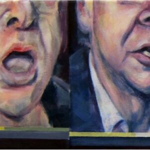 A section of a painting Anne Teahan's painting 'Guardian Combat'. It is a depiction of two frozen stills of an online debate on the Guardian website. Acrylic on canvas.