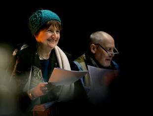 A photograph of playwright Kaite O'Reilly and director Phillip Zarrili whilst they are rehearsing their play, Cosy.