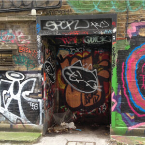 Photograph of a doorway in Brighton used as part of Bekki Perriman's The Doorways Project. It is covered in graffiti.