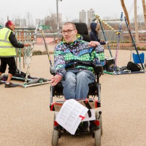 James Rose photographed at the Liberty event at the Olympic Park with a series of sculptural musical instruments behind him