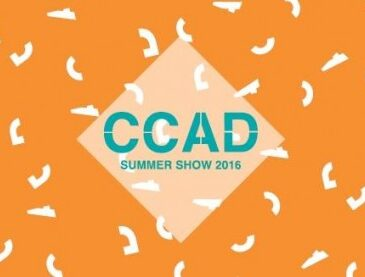 Colourful orange flyer with the initials CCAD