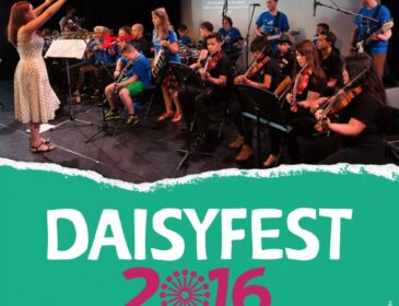 Flyer for Daisyfest 2016 featuring an orchestra of young musicians