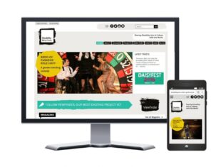 The new look Disability Arts Online site displayed on a computer screen and smartphone.