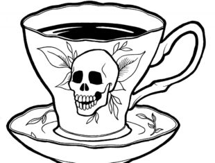 Simple line drawing of a teacup decoarated with a skull