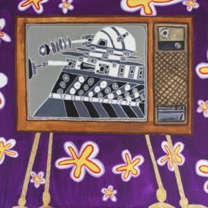 Painting by Cameron Morgan depicting a 60s style TV and wallpaper with a dalek on the screen