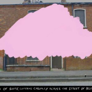 Artist postcard featuring a street with a pink cloud painted over it