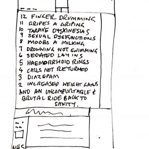 On the top it says: On the 12th day of Christmas, my psychiatrist prescribed for me. Then there is a prescription and written on it is the following: 12 fingers drumming 11 gripes a griping 10 tardive dyskinesias 9 sexual dysfunctions 8 moobs a milking 7 drowning not swimming 6 sedated layings 5 haemorrhoid rings 4 calls not returned 3 diazampem 2 increased weight gain and an uncomfortable ride back to sanity