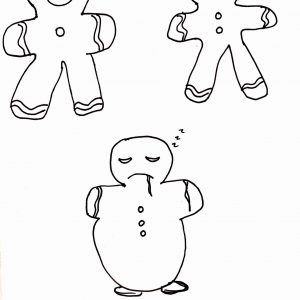 There are three gingerbread men. Two are of normal shape and smiling. The third is bigger, not smiling, eyes drooping, and salivating. The caption underneath reads: Jeff the gingerbread man hates being on anti-psychotic medication