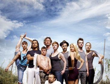 Photo of the integrated company Extraordinary Bodies, pictured against a blue sky