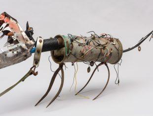 Sculpture of a dog using found materials