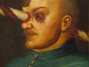 Portrait of Gregor Baci with a lance running through his right eye and through to the back of his head