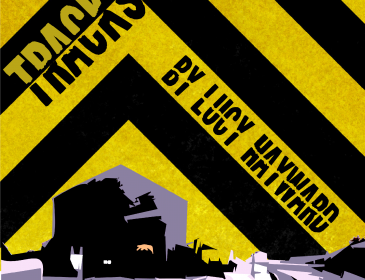 Black and yellow flyer for on the tracks showing a railway station at night