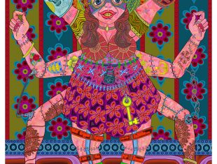 Colourful digital image of a woman with a cat mask and many arms