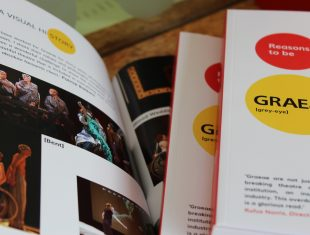 A shot of a pile of the Graeae books, partially showing the front cover