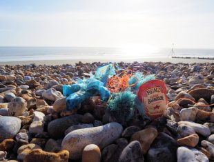 Photo of the stones on Brighton beach, mingled with some coloured fishing line and a discarded Heinz packet