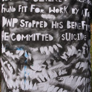 Spray painted fabric telling the story of Paul Reekie's death
