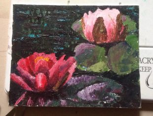 Waterlillies in an impressionist style