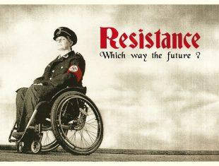 Photo of filmmaker Liz Crow dressed in a nazi uniform sitting in a wheelchair