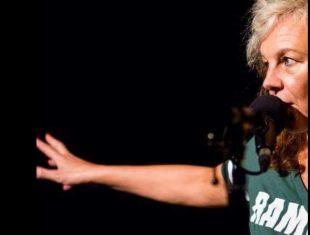 Liz Bentley at a microphone