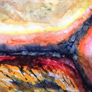 abstract watercolour suggesting a storm across a landscape
