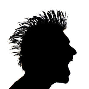 sillhouette of a man with a mohawk hairstyle